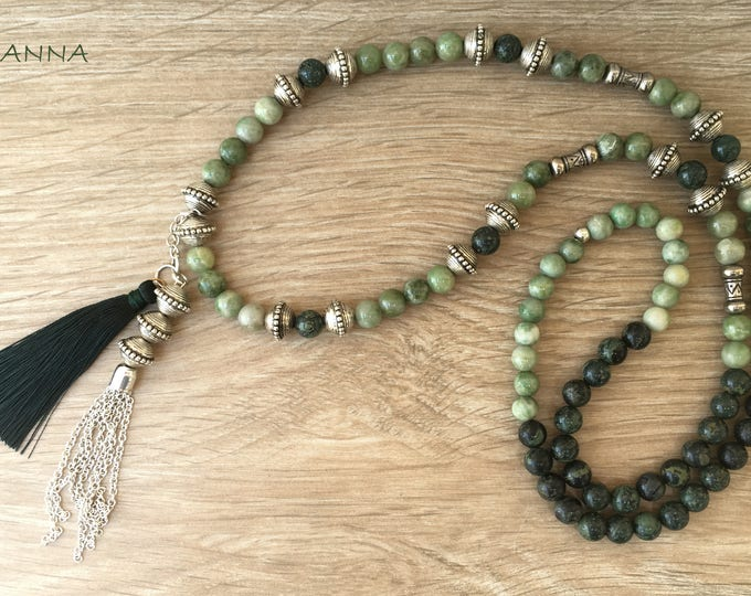 Tuscan Necklace Semi-precious/piedras/Verdita and rhyolite Green/Boho chic casual Elegant
