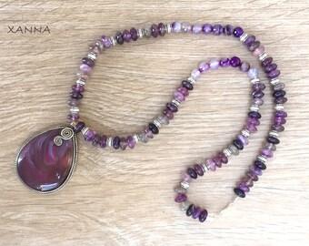 Semi-precious/piedras SYRINGA necklace/Agate and fluorite/elegant casual chic agate pendant/Boho