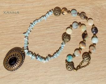 GALA Choker Necklace /SemiPrecious/Larimar Stones and Amazonite/Victorian Bronze Pendant/Boho Chic Casual Chic