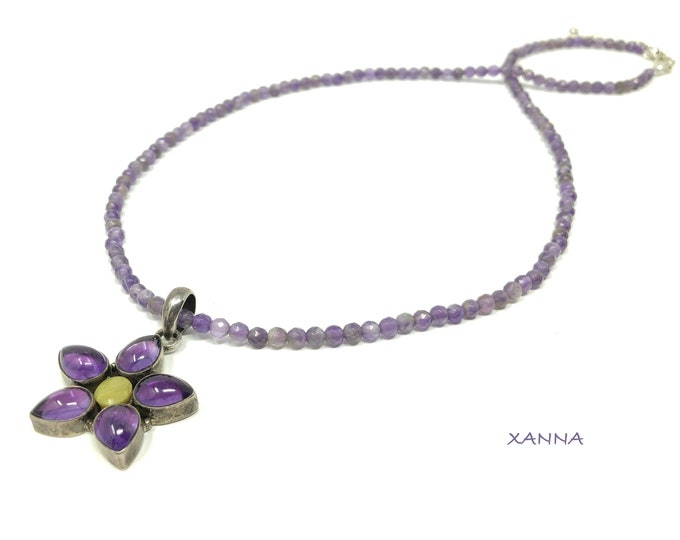 FLEUR Necklace /Semiprecious Stones/Amethyst/925 Sterling Silver Pendant with Amethyst and Peridot/Boho Chic Elegant