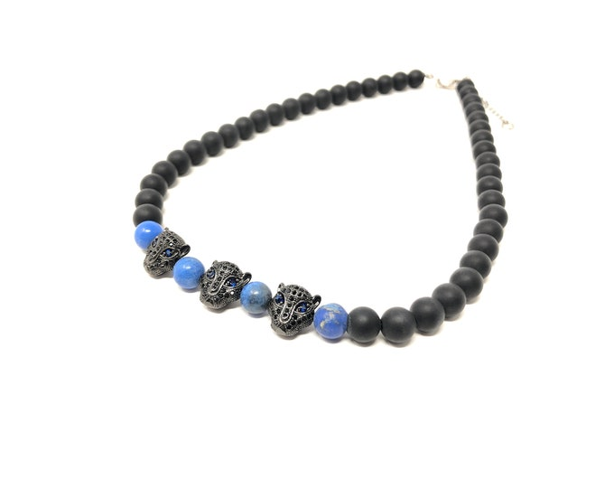 Gargantilla Sets VII and VIII (XANNA by Steven Vázquez) / blue imperial jasper and onyx matte / 2 black leopard parts with pavés