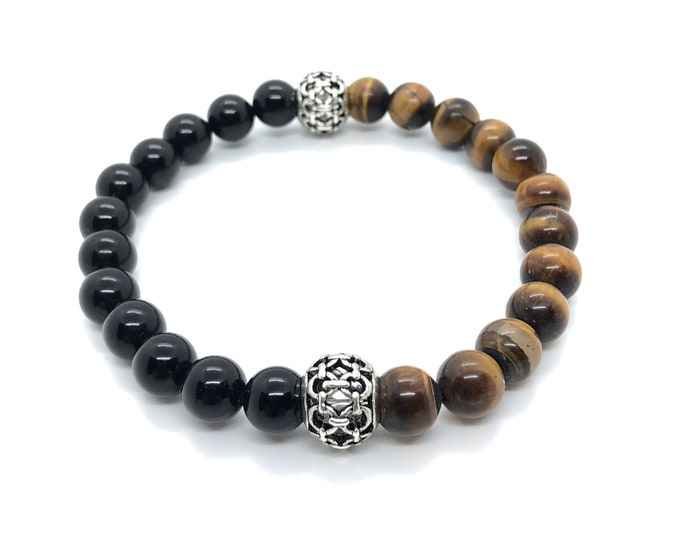 XANNA STONE Bracelet (22) Semi-precious/piedras/Onyx and Tiger eye/elegant Casual