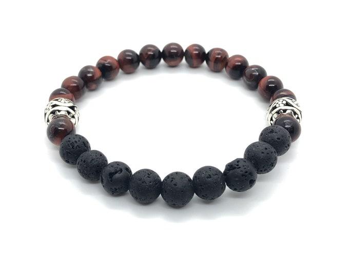XANNA STONE Bracelet (16) semi-precious/piedras/ox-eye and Volcànica lava/elegant Casual