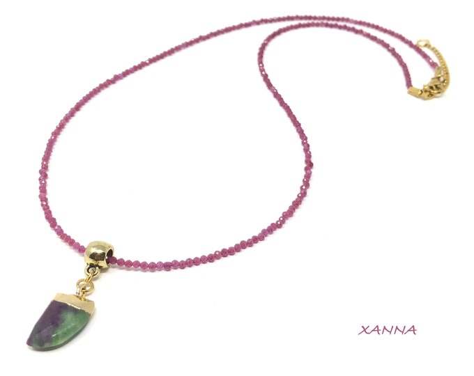 RUBY necklace /semi-precious stones/ruby/ruby-zoisite/boho chic, elegant and casual