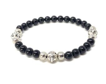 NIGHT Bracelet /Semiprecious Stones/Onynix/Boho Chic Chic Elegant