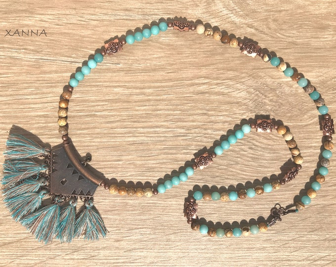 PEQUETA I necklace /semiprecious stones/turquoise agate and wood jasper/copper metal pendant with tassels/Boho chic elegant casual