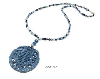 MAYLIN X necklace /semiprecious stones /blue faceted agate/oriental medallion jade blue/boho chic, elegant and casual