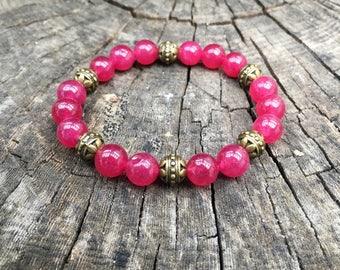 COEUR/piedras semiprecious bracelet/ruby agate/Elegant Boho chic casual