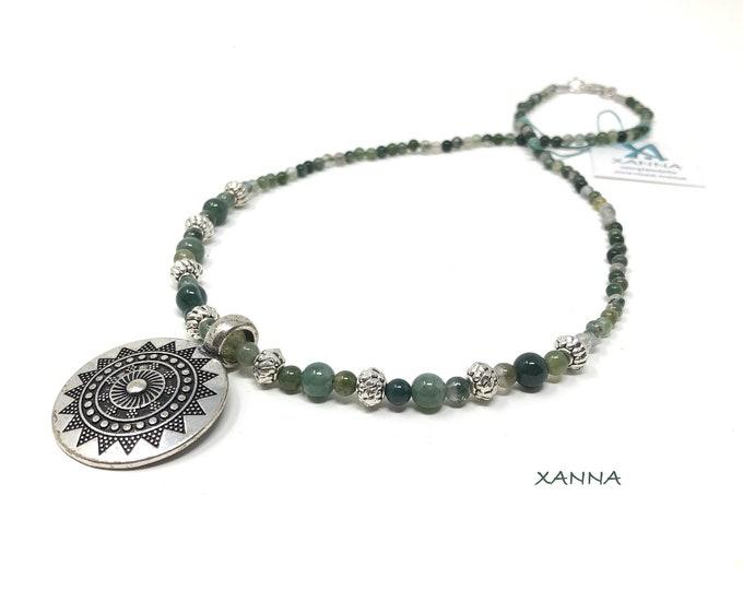 Chic & LOVE Short necklace (XI) semi-precious/piedras/mossy agate/ethnic Silver style medallion pendant/elegant Casual chic Boho