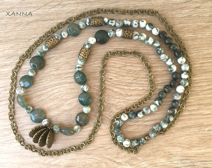 Semi-precious/piedras moss necklace/tree and Dragon Agates, and rhyolite/green/Bronze chain/elegant boho chic casual
