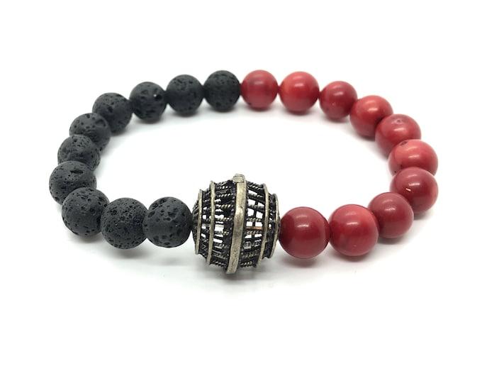 DIABLO bracelet / semiprecious stones / red coral and black lava /boho chic elegant casual