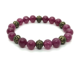 COEUR bracelet / semiprecious stones / ruby agate/casual elegant chic