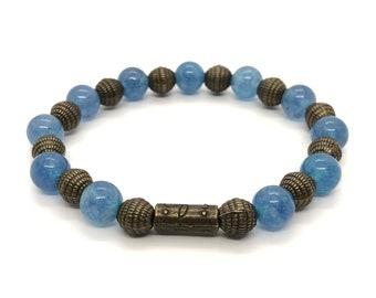 MYKONOS Bracelet /Semiprecious Stones/Blue Agate/Boho Chic, Elegant and Casual