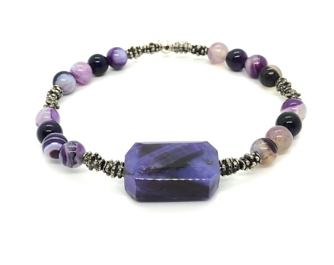 VÉRAN I/piedras semi-precious bracelet/lilac agate/Elegant boho chic casual