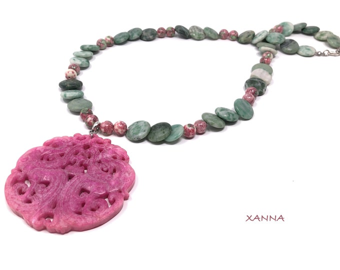 MAYLIN IV necklace /semiprecious stones/jade/eastern medallion jade terracotta/boho chic, elegant and casual