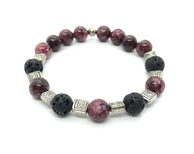 ISIS bracelet / semiprecious stones / jasper sesame garnet and black volcanic lava /casual elegant chic boho