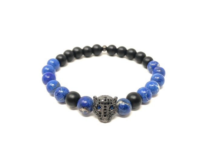 Bracelet Set VIII (XANNA by Steven Vázquez) / blue imperial jasper and onyx matte / black leopard footing with pavés