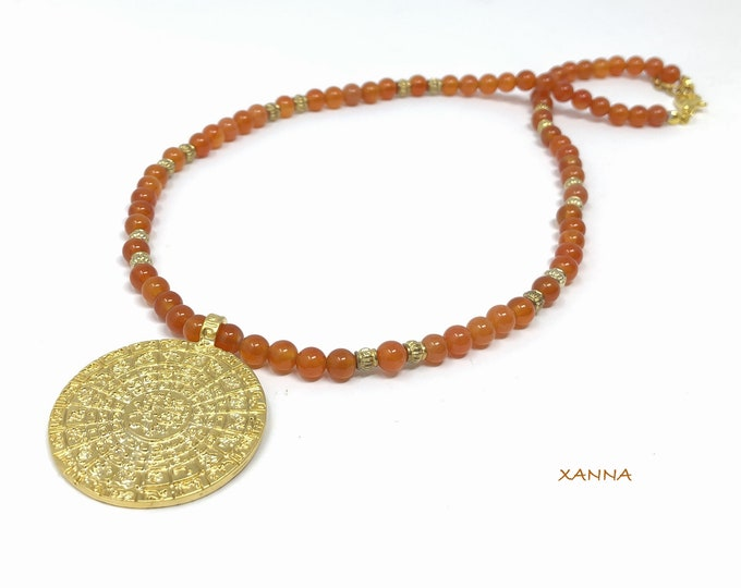 QIBLA necklace /semiprecious/cornaline stones/ethnic medallion Arabic qibla/boho chic, elegant and casual