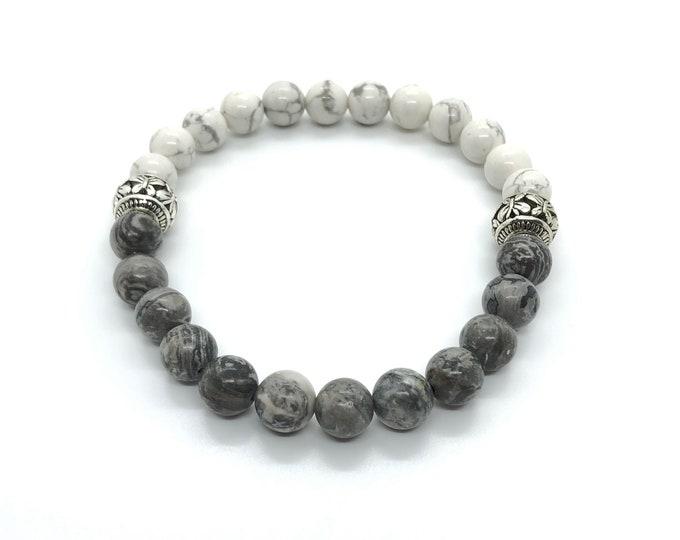 XANNA STONE Bracelet (20)/piedras semi-precious/Howlite and jasper Map/Elegant Casual