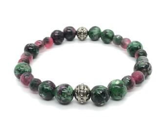 Nature Bracelet Semi-precious/piedras/zoisite Ruby and Agate pink-green/boho chic elegant Casual