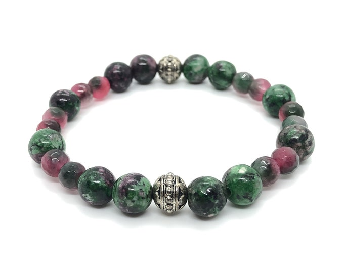 Nature Bracelet Semi-precious/piedras/zoisite Ruby and Agate pink-green/boho chic elegant Casual