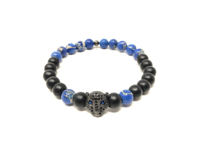 Bracelet Set VII (XANNA by Steven Vázquez) / blue imperial jasper and onyx matte / black leopard footing with pavés
