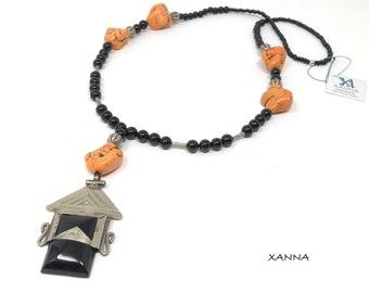 DASSIN necklace /semiprecious/onyx stones and orange magnesite/tuareg alpaca amulet and onyx /Boho chic casual elegant