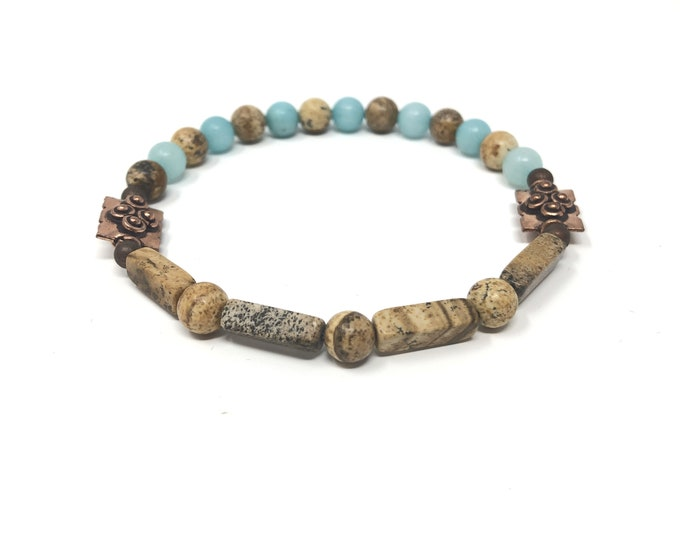 FEMME 6/piedras semiprecious bracelet/wood jasper & Amazonite/Boho chic elegant Casual
