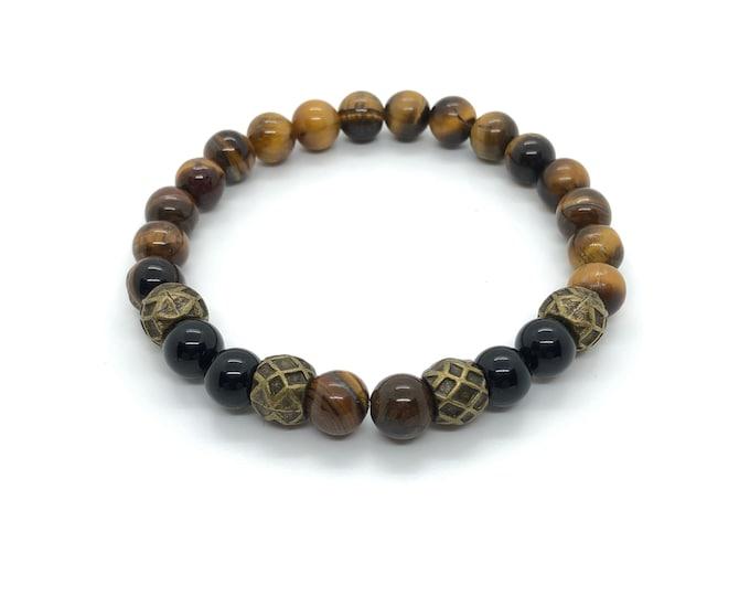 XANNA STONE Bracelet (25) semi-precious/piedras/Onyx and Tiger eye/elegant Casual
