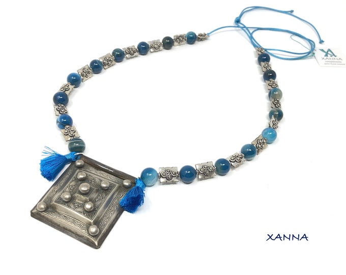 Necklace MARRAKECH/piedras semiprecious/Blue Agate/Amulet Herz Berber/boho chic ethnic, hyppie, elegant, casual
