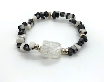 NIT bracelet I DIA (II) semi-precious/piedras/zebra jasper and white quartz or rock crystal/elegant boho chic casual
