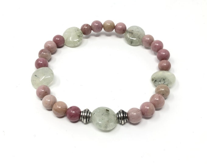 DOUCE bracelet/piedras semiprecious/prehnite green and Rodhonite pink/Boho chic casual Elegant