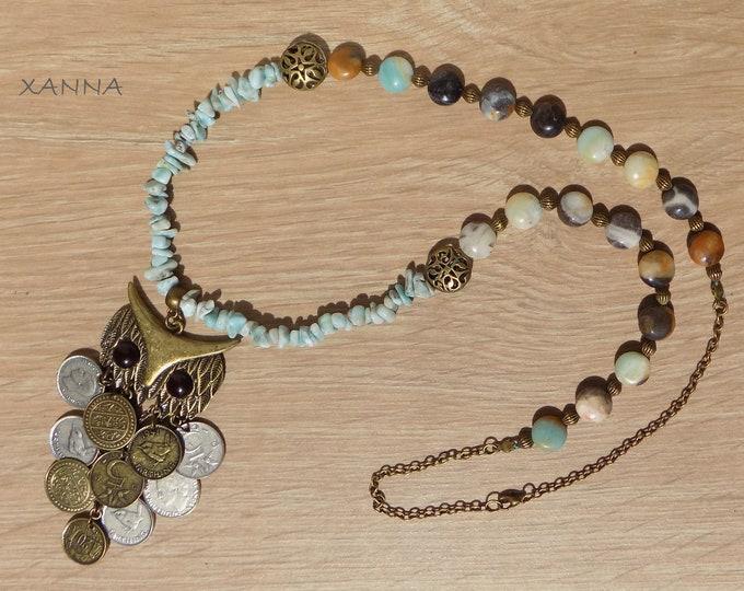 XUT necklace /semiprecious/larimar stones and amazonite/owl pendant with coins/Casual elegant chic