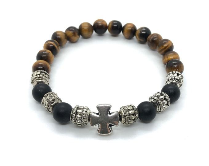 XANNA STONE Bracelet (23) semi-precious/piedras/matte onyx and Tiger eye/elegant Casual