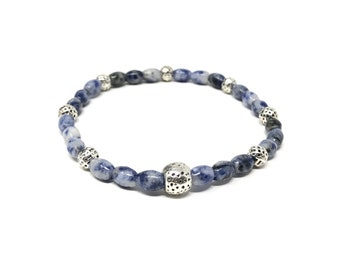 IVETTE 06-P bracelet /semi-precious stones/sodalita/boho chic, elegant and casual