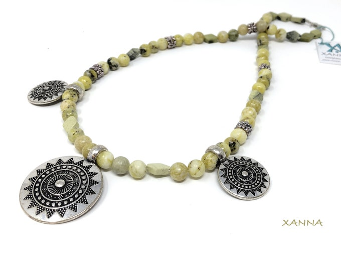 Necklace ALEXANDRA/piedras semiprecious/serpentine/Pendants ethnic design/boho chic, elegant, casual