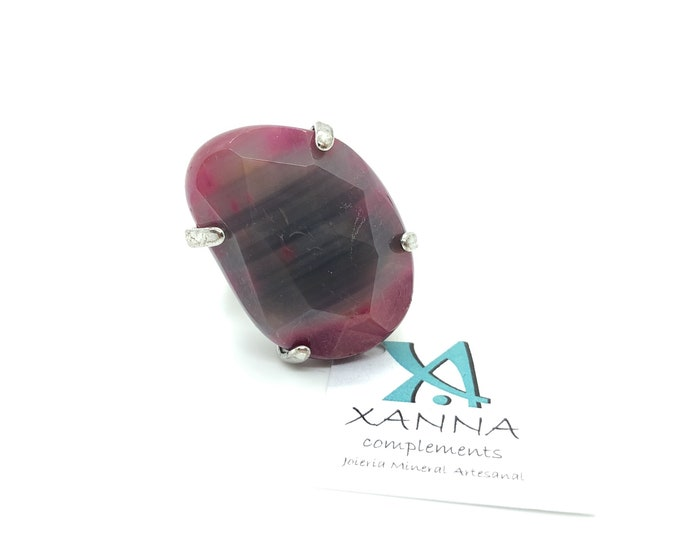 XANNA Ring 7 Semi-precious/piedras/pink agate-purple-grey