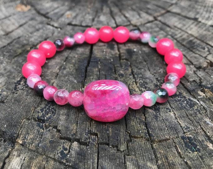 CANDY/piedras Bracelet Semi-precious/agate Pink I green/boho chic, elegant and casual