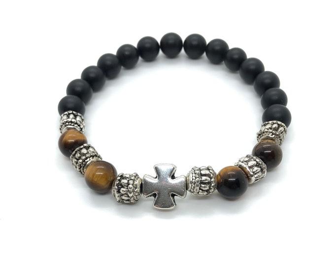 XANNA STONE Bracelet (24) semi-precious/piedras/matte onyx and Tiger eye/elegant Casual