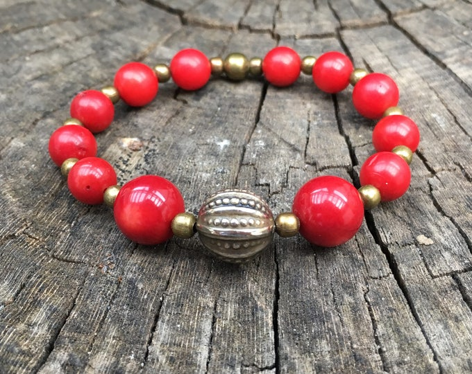 TALISMAN/piedras semi-precious bracelet/red coral/elegant boho chic casual