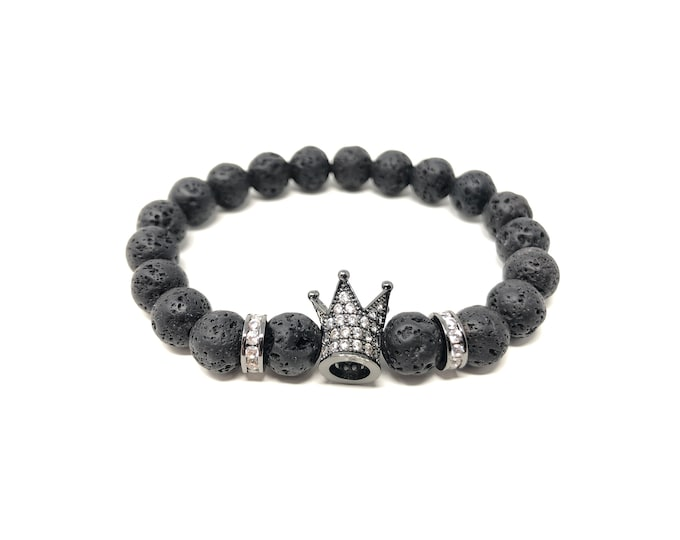 Bracelet Set VI (XANNA by Steven Vázquez) / black volcanic lava / black sheath crown with pavés