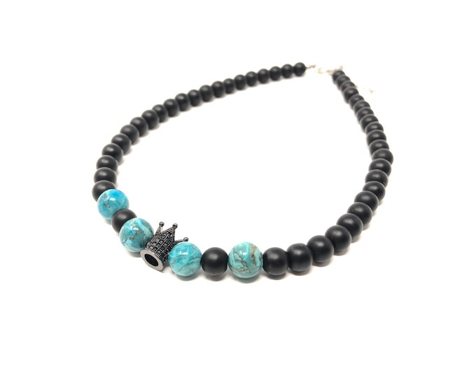 Joint Choker III (XANNA by Steven Vázquez) / blue turquoise and matt onyx / 2 black entreking crown with pavés