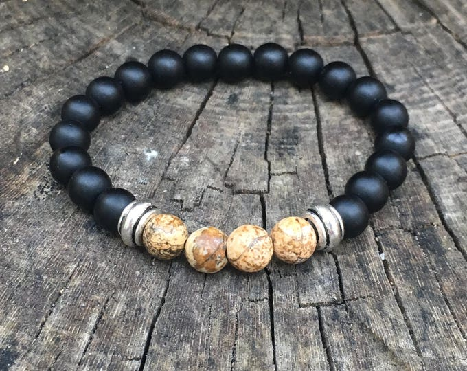 XANNA STONE Bracelet (10) semi-precious/piedras/Matt Onyx and Wood jasper/casual Elegant