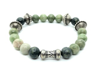 /piedras Tuscan Bracelet Semi-precious/Verdita and rhyolite green/boho chic elegant Casual