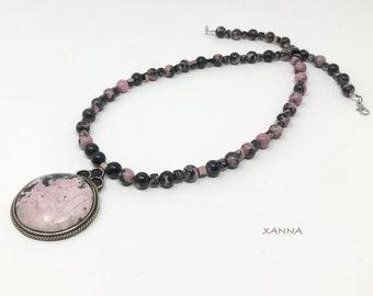SAKURA Necklace V/piedras semi-precious/rodhonite/pendant rodhonite/Boho chic Elegant Casual