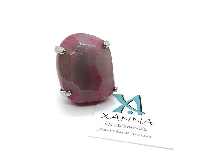 XANNA Ring 8 Semi-precious/piedras/pink-Purple Agate