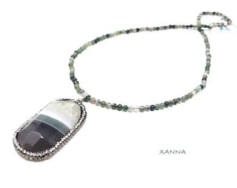 Chic & LOVE Short necklace (XII) semi-precious/piedras/mossy agate/grey agate Pendant-green-white & shiny/elegant Casual chic Boho