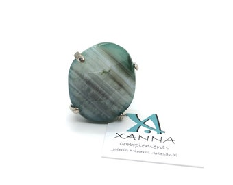 XANNA Ring 11 semi-precious/piedras/green agate-Grey-white