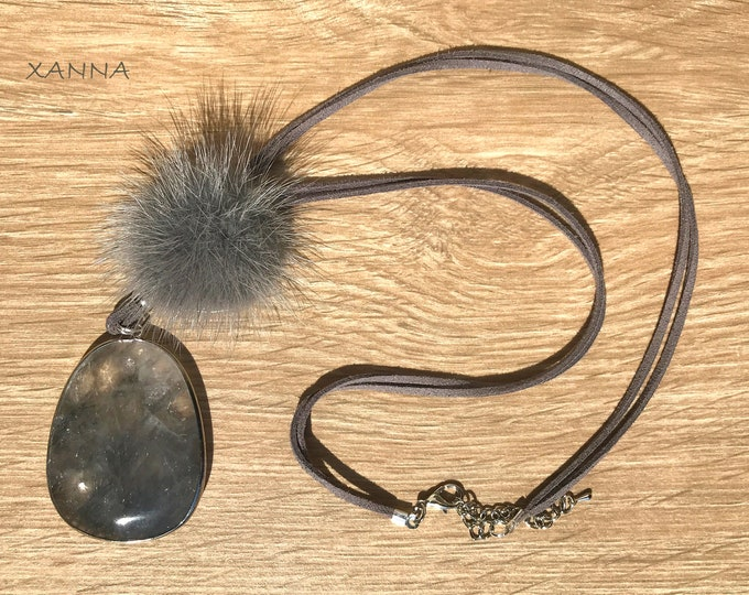 Chic & LOVE Necklace (IX) semi-precious/piedras/tassel with druzy agate pendant/Boho chic elegant Casual