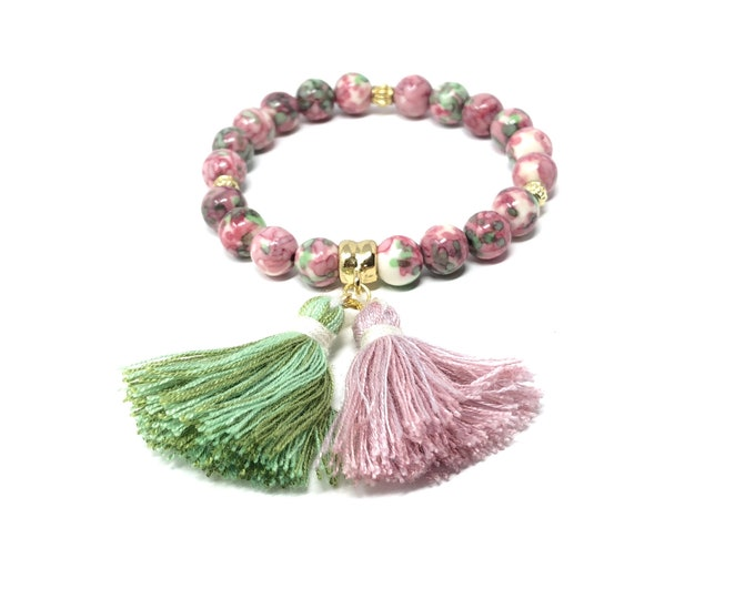 ROSE bracelet / semiprecious stones / ocean jade with tassels / boho chic, elegant, casual